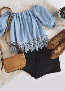 Áo trễ vai + Shorts