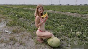 Cô nàng thu hút được sự chú ý khi xuất hiện tại ruộng dưa trong trang phục mát mẻ