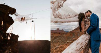 Cặp đôi 'giăng mạng nhện' làm đám cưới ở độ cao 122m khiến người xem thót tim
