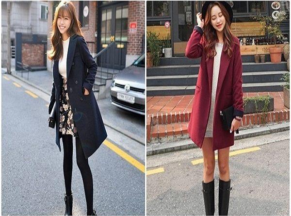 Áo khoác dạ + chân váy ngắn mặc áo dạ sao cho đẹp