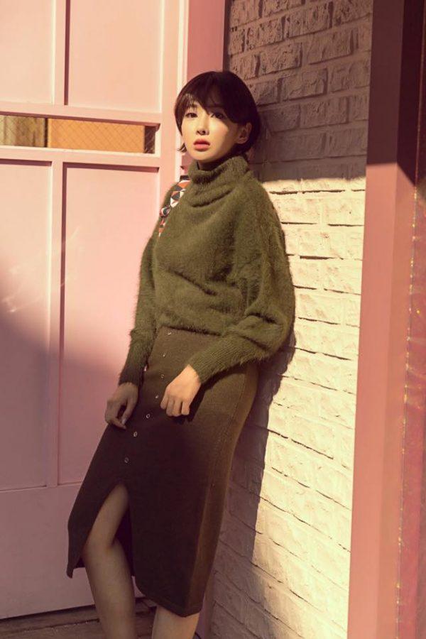 Phối Chân váy len đẹp với áo len ton sur ton