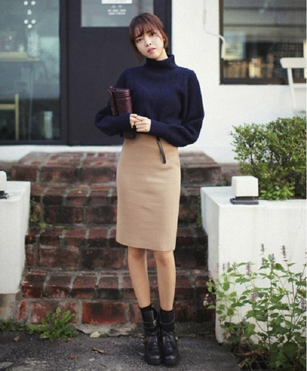 Cách phối váy len đẹp theo phong cách tối giản