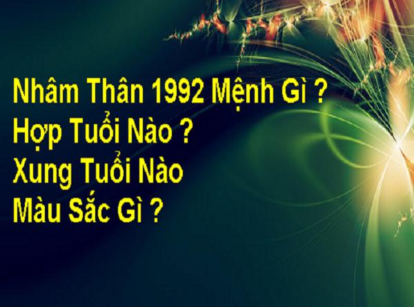 Sinh năm 1992 mệnh gì, tuổi gì, hợp màu nào?