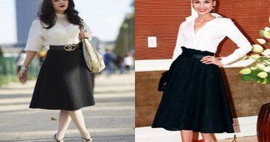 các kiểu áo mặc với chân váy xòe nữ tính nhất