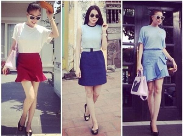 Chân váy ngắn - cách phối đồ với giày bệt nữ
