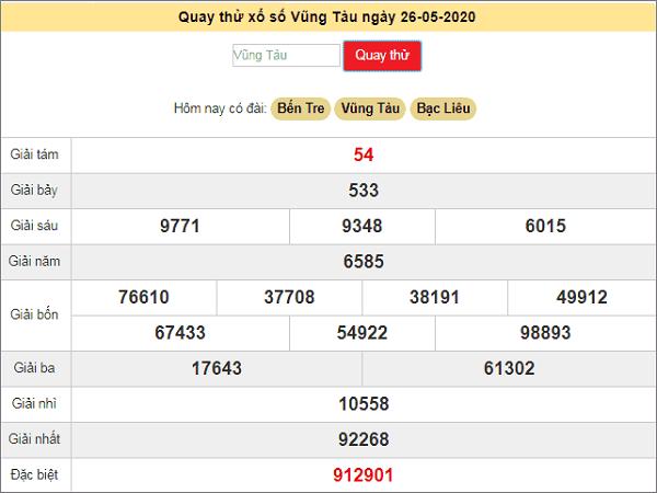 Quay thử kết quả xổ số miền Nam Vũng Tàu ngày 26/5/2020 thứ 3