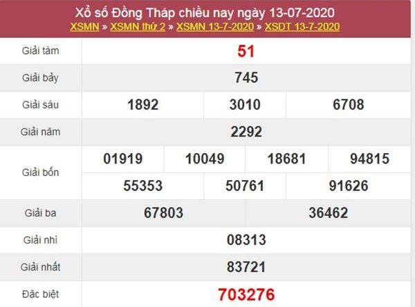 Thống kê XSDT 20/7/2020 chốt KQXS Đồng Tháp hôm nay