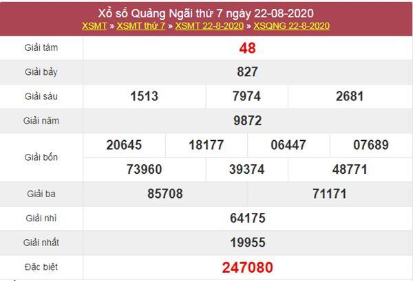 Thống kê XSQNG 29/8/2020 chốt KQXS Quảng Ngãi thứ 7