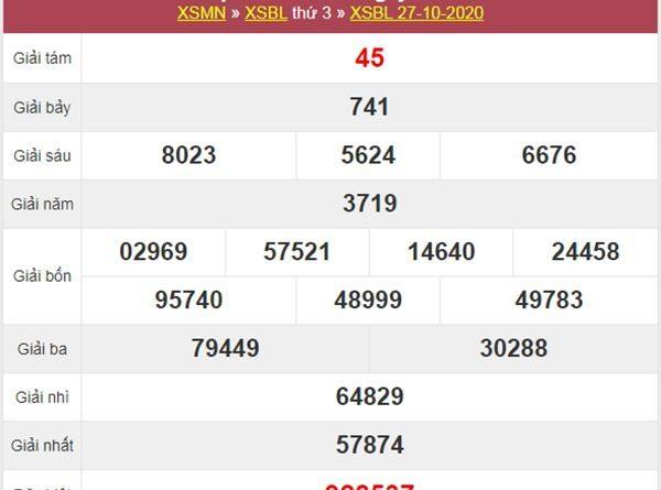 Thống kê XSBL 3/11/2020 chốt lô bạch thủ Bạc Liêu thứ 3